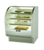 "Leader CVK36-D - 36"" Curved Glass Dry Bakery Display Case - Counter Height"