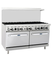 "Atosa ATO-10B - 60"" Gas Range - 10 Open Burners - (2) 26.5"" Ovens"