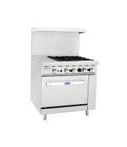"Atosa ATO-12G4B - 36"" Gas Range - 4 Open Burners - 12"" Left Griddle - 26.5"" Oven"