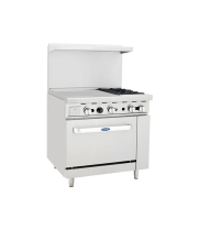 "Atosa ATO-24G2B - 36"" Gas Range - 2 Open Burners - 24"" Left Griddle - 26.5"" Oven"