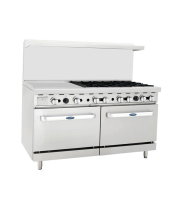 "Atosa ATO-24G6B - 60"" Gas Range - 6 Open Burners - 24"" Left Griddle - (2) 26.5"" Oven"