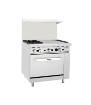 "Atosa ATO-2B24G - 36"" Gas Range - 2 Open Burners - 24"" Right Griddle - 26.5"" Oven"