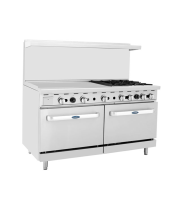 "Atosa ATO-36G4B - 60"" Gas Range - 4 Open Burners - 36"" Left Griddle - (2) 26.5"" Oven"