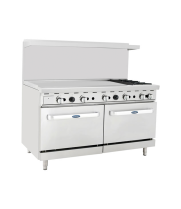 "Atosa ATO-48G2B - 60"" Gas Range - 2 Open Burners - 48"" Left Griddle - (2) 26.5"" Oven"