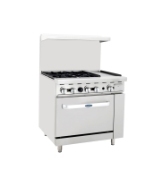 "Atosa ATO-4B12G - 36"" Gas Range - 4 Open Burners - 12"" Right Griddle - 20"" Oven"