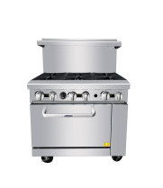 "Atosa ATO-6B - 36"" Gas Range - 6 Open Burners - 26.5"" Oven"