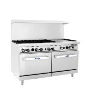 "Atosa ATO-6B24G - 60"" Gas Range - 6 Open Burners - 24"" Right Griddle - (2) 26.5"" Ovens"