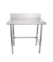"Universal B5SG2436-RCB - 36"" X 24"" Stainless Steel Work Table W/ Back Splash and Galvanized Cross Bar"