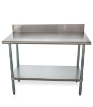 "Universal B5SG2448 - 48"" X 24"" Stainless Steel Work Table W/ Back Splash and Galvanized Under Shelf"