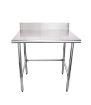 "Universal B5SG3036-RCB - 36"" X 30"" Stainless Steel Work Table W/ Back Splash and Galvanized Cross Bar"