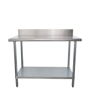 "Universal B5SG3048 - 48"" X 30"" Stainless Steel Work Table W/ Back Splash and Galvanized Under Shelf"