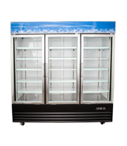 "Universal BD1.9L3 80"" Three Door Black Swing Glass Door Reach In Freezer with LED Lighting"