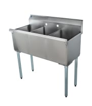 "Universal BS-C3T1412 36"" Three Compartment Commercial Sink"