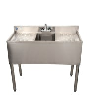 "Universal 36"" 1 Bowl Underbar Sink with Faucet and Two Drainboards"