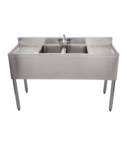 "Universal 48"" 2 Bowl Underbar Sink with Faucet and Two Drainboards"