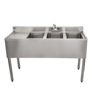 "Universal 48"" 3 Bowl Underbar Sink with Left Drainboard and Faucet"