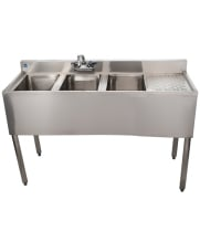 "Universal 48"" 3 Bowl Underbar Sink with Right Drainboard and Faucet"