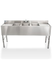 "Universal 60"" 3 Bowl Underbar Sink with Faucet and Two Drainboards"