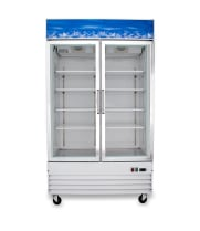 "Universal D1.2BM2F 54"" Two Door White Swing Glass Door Reach In Freezer with LED Lighting"