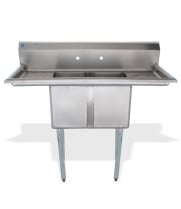 "Universal LJ1216-2RL - 48"" Two Compartment Sink W/ Two Drainboards"