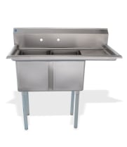"Universal LJ1416-2R - 45"" Two Compartment Sink W/ Right Drainboard"