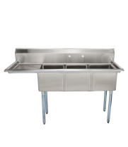 "Universal LJ1416-3L - 59"" Three Compartment Sink W/ Left Drainboard"