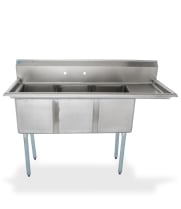"Universal LJ1416-3R - 59"" Three Compartment Sink W/ Right Drainboard"