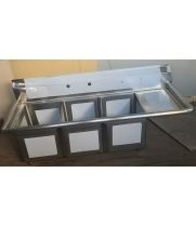 "Scratch & Dent - Universal LJ1416-3R - 59"" Three Compartment Sink W/ Right Drainboard"