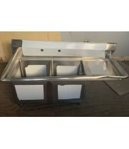"Scratch & Dent - Universal LJ1515-2R - 48"" Two Compartment Sink W/ Right Drainboard"