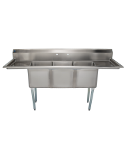 "Universal LJ1515-3RL - 75"" Three Compartment Sink W/ Two Drainboards"