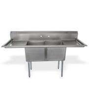 "Universal LJ1818-2RL - 72"" Two Compartment Sink W/ Two Drainboards"