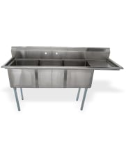 "Universal LJ1818-3R - 75"" Three Compartment Sink W/ Right Drainboard"