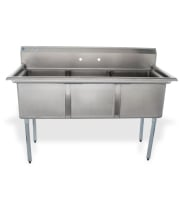 "Universal LJ1821-3 - 59"" Three Compartment Sink - NSF Certified"
