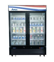 "Atosa MCF8723GR - 55"" Glass Door Refrigerator - 2 Swinging Doors - 43.95 cu. ft. - Bottom Mount"
