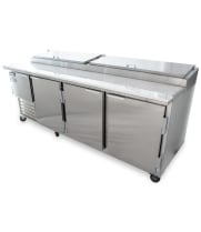 "Leader PT96-M - 96"" Pizza Prep Table - Marble Top"
