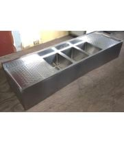 "Scratch & Dent - Universal 72"" 3 Bowl Underbar Sink with Faucet and Two Drainboards"