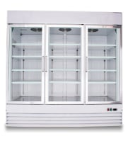 "Universal SG1.9L3 78"" Three Swing Glass Door Reach In Refrigerator Merchandiser with LED Lights"