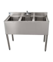 "Universal 38"" 3 Bowl Underbar Sink with Faucet"