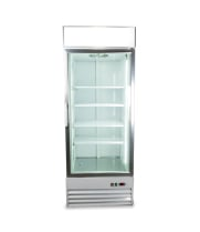 "Universal D648BMF 31"" One Door White Swing Glass Door Reach In Freezer with LED Lighting"