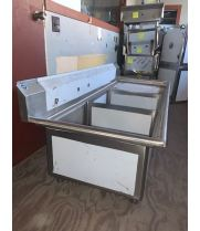 "Scratch & Dent - Universal LJ2424-2R - 75"" Two Compartment Sink W/ Right Drainboard"