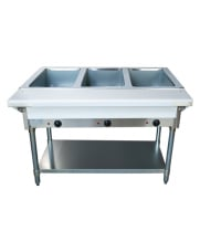 Universal NH-3-120 - Electric 3 Pan Open Well Steam Table with Undershelf- Thermostatic Controls