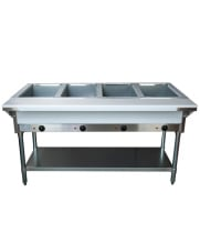 Universal NH-4-120 - Electric 4 Pan Open Well Steam Table with Undershelf - Thermostatic Controls
