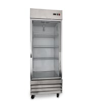 "Universal USDR29 29"" One Section Glass Door Reach in Refrigerator with LED Lights - 23 Cu. Ft."
