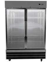 "Universal USDR54 54"" Two Section Glass Door Reach in Refrigerator with LED Lights - 47 Cu. Ft."
