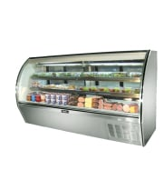"Leader NRHD96SC - 96"" Curved Glass Deli Display Case - High Volume"