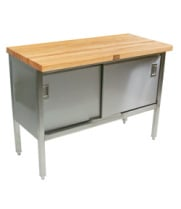 "John Boos ETNS10 - 120"" X 30"" Butcher Block Storage Dish Cabinet Work Table"