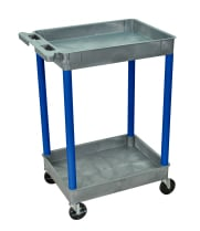 Luxor GYSTC11BU - Plastic 2 Shelf Utility Tub Cart - Gray