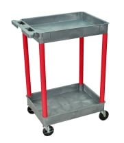 Luxor GYSTC11RD - Plastic 2 Shelf Utility Tub Cart - Gray