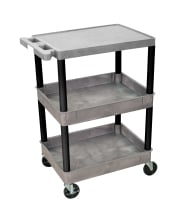Luxor GYSTC211BK - Plastic 3 Shelf Utility Tub Cart - Gray