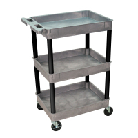 Luxor - GYSTC111BK - Plastic 3 Shelf Utility Tub Cart - Gray